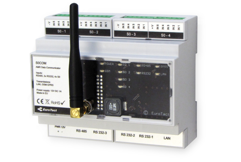 S0COM is an automatic meter reading solution designed to collect data from various kinds of electronic meters communicating via serial port (RS485, RS232) or impulse interface (S0).